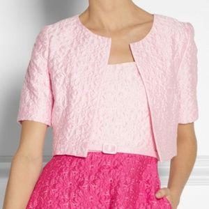 NWT OSCAR DE LA RENTA Pink Foral Matelassé Bolero